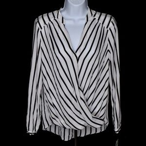 INC Petite Striped Wrap Blouse Black White Sz PS